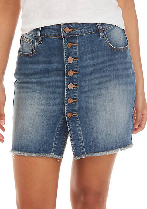 Indigo Rein Exposed Button Fray Denim Skirt