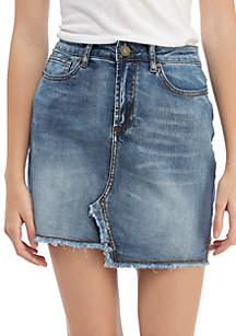 Asymmetric Frayed Hem Denim Skirt