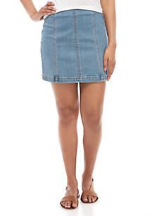Indigo Rein Seamed Denim Mini Skirt