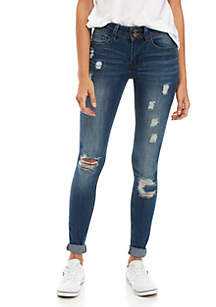 Double Button Destroyed Skinny Jeans