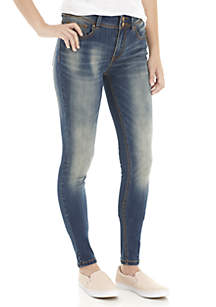 Double Button Roll Cuff Skinny Jeans