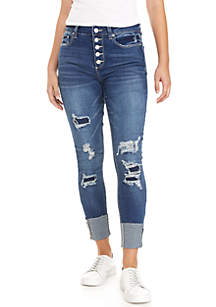 High Rise Exposed Distressed Raw Cuff Jeans