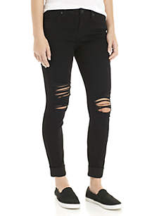 Destroyed Roll Cuff Skinny Jeans