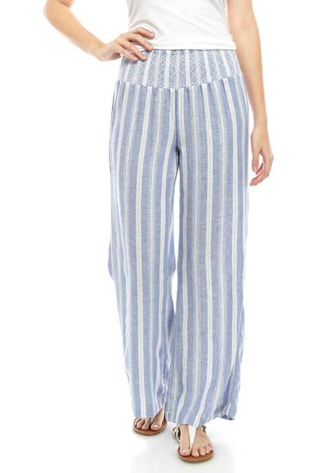 Juniors Smocked Waist Linen Pants
