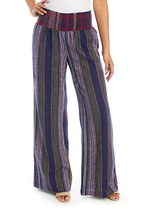Indigo Rein Smocked Waist Stripe Linen Pants