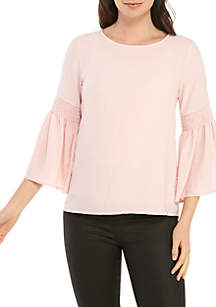 Spense Shirred Bell Sleeve Top