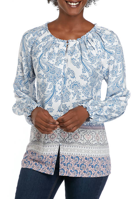 Womens Button Front Printed Woven Top