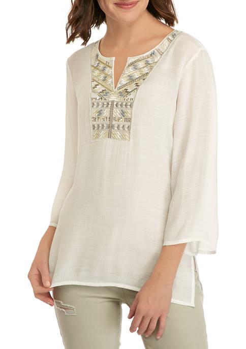 Womens Embellished Sequin Split Neck Blouse