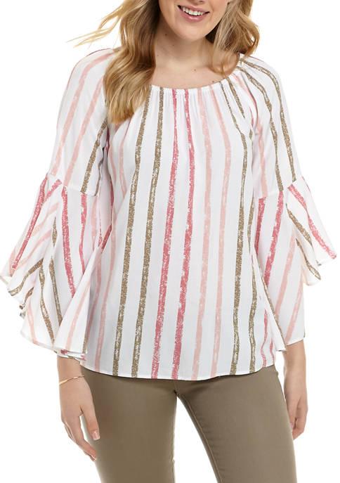 Melissa Paige Womens Bell Sleeve Multi Stripe Blouse