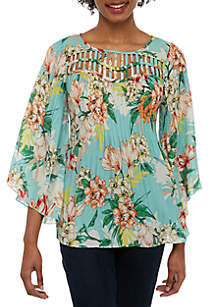 90b7ead0b8f18 Spense 3 4 Sleeve Crinkle Top with Cutout Neck