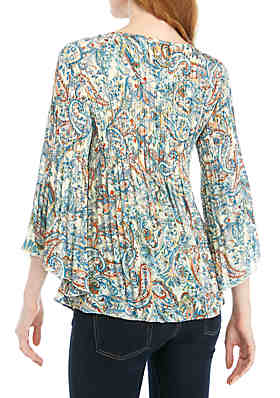 7017b8d5d7822 ... Spense 3 4 Sleeve Crinkle Top with Cutout Neck
