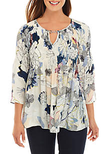 Spense 3/4 Sleeve Print Crinkle Top