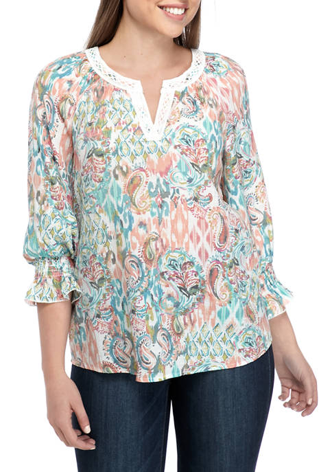 Melissa Paige Womens Slub Blouse with Crochet Details