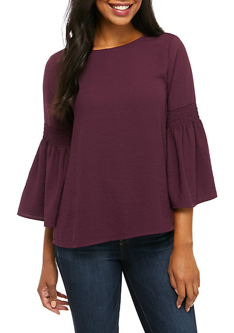 Shirred Bell Sleeve Top