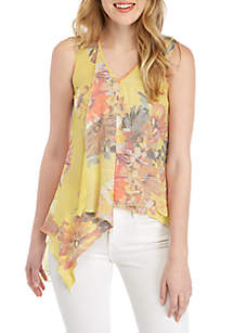 Spense Sleeveless V-Neck Slub Asymmetrical Hem Top