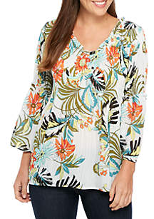 Printed Ruff V-Neck Smocked Pleated Top