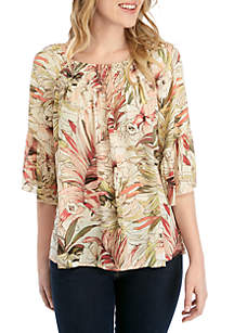 Spense Flounce Sleeve with Shirring Front Top