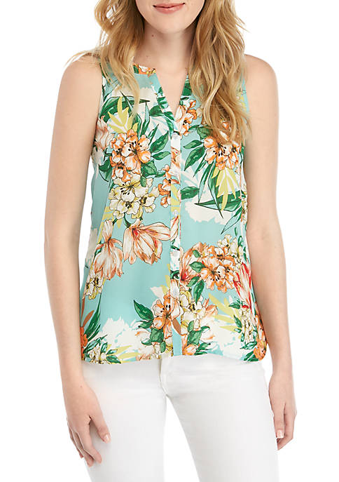 Sleeveless Button Front Tunic Top