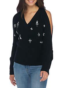 Cold Shoulder Rhinestone Sweater