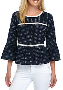 Crown & Ivy™ Flare Sleeve Dot Top