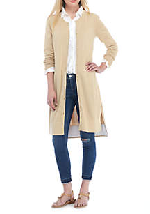 Button-Front Duster Cardigan