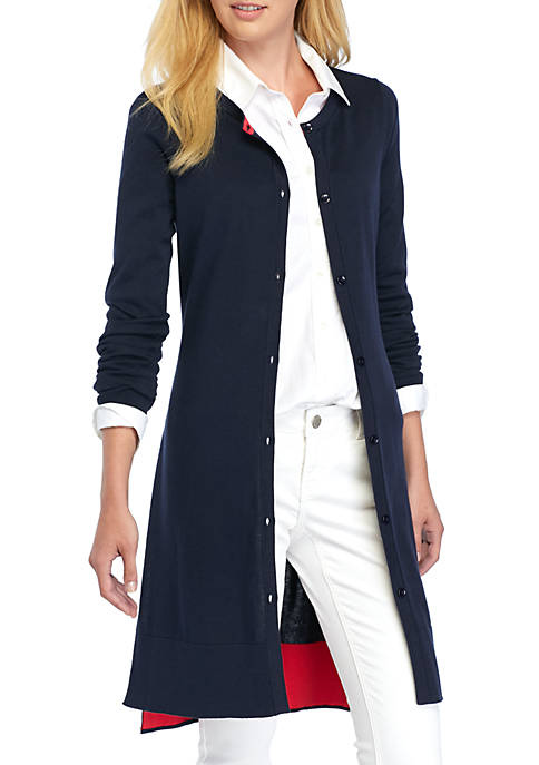 Crown & Ivy™ Button-Front Duster Cardigan