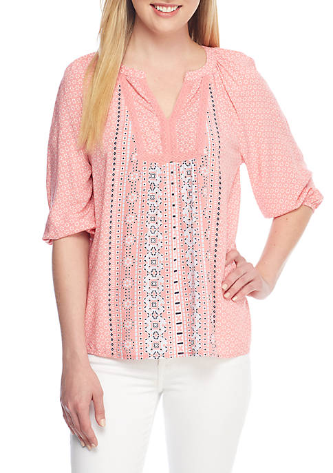 Crown & Ivy™ Pom Trim Peasant Top