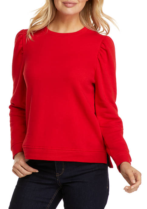 Crown & Ivy™ Womens Long Puff Sleeve Sweatshirt