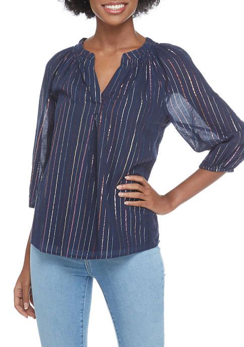 Womens Split Neck 3/4 Sleeve Top