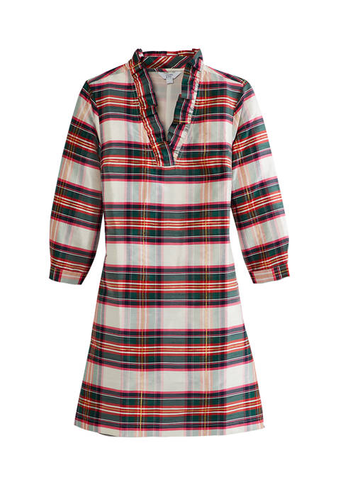 Crown & Ivy™ Womens Plaid Ruffle Neck Dress