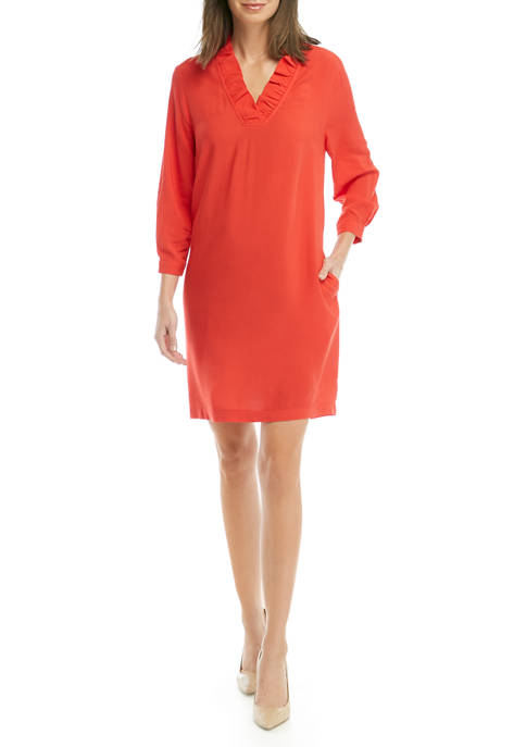 Crown & Ivy™ Womens Blouson Sleeve Ruffle V-Neck