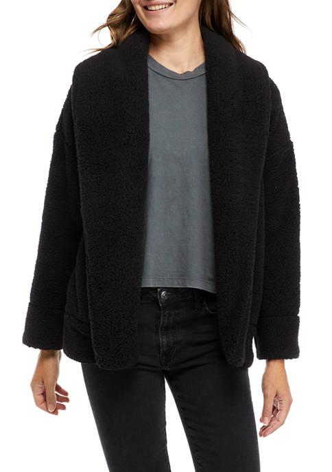 Crown & Ivy™ Womens Shawl Collar Fuzzy Cardigan