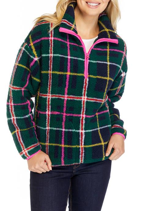 Womens Long Sleeve Half Zip Sherpa Pullover