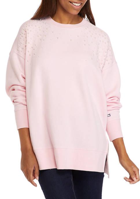 Crown & Ivy™ Womens Long Sleeve Shine Sweeper
