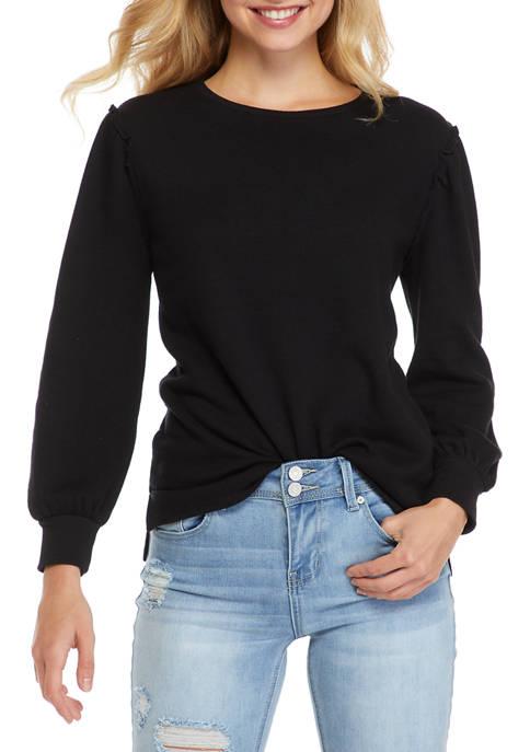 Womens Blouson Sleeve Ruffle Sweatshirt