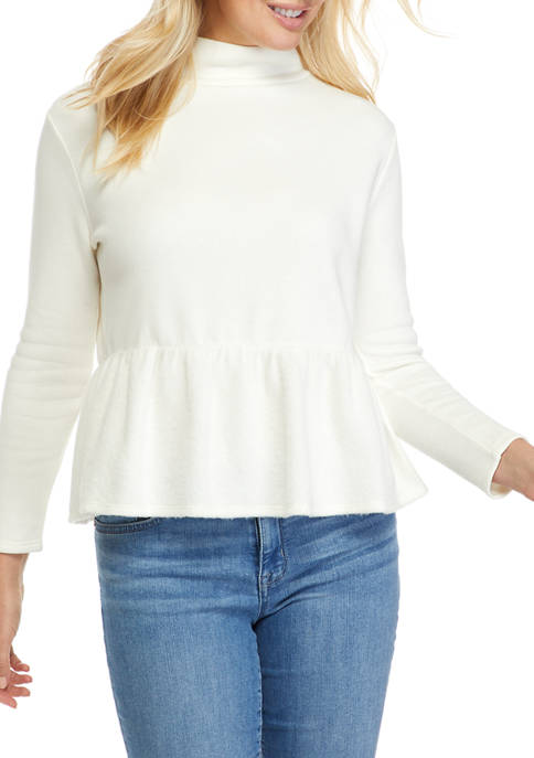 Crown & Ivy™ Womens Long Sleeve Peplum Top