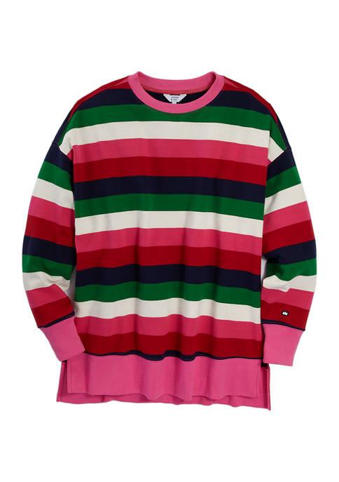Crown & Ivy™ Womens Long Sleeve Stripe Sweater