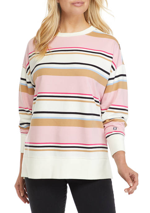 Womens Long Sleeve Striped Sweeper Sweater