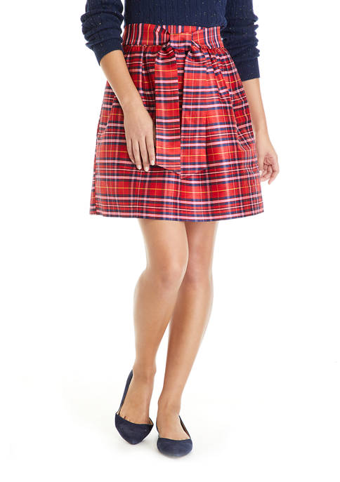 Crown & Ivy™ Womens Plaid Skirt with Bow
