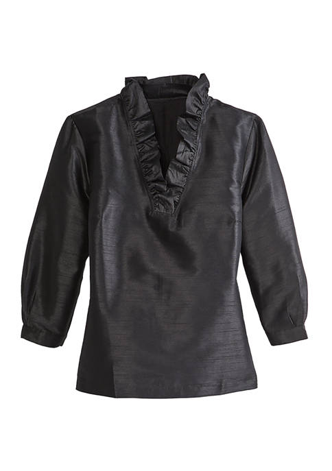 Crown & Ivy™ Womens Ruffle Neck Solid Blouse