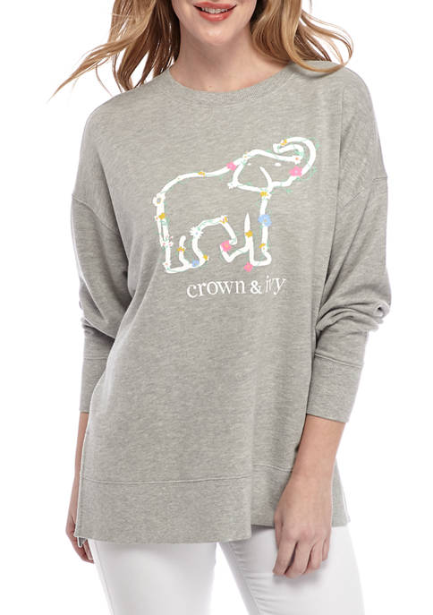 Crown & Ivy™ Womens Oversize Long Sleeve French