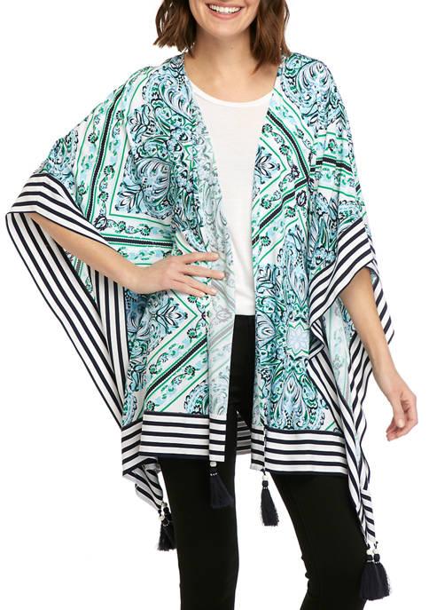 Crown & Ivy™ Womens 3/4 Sleeve Printed Kimono