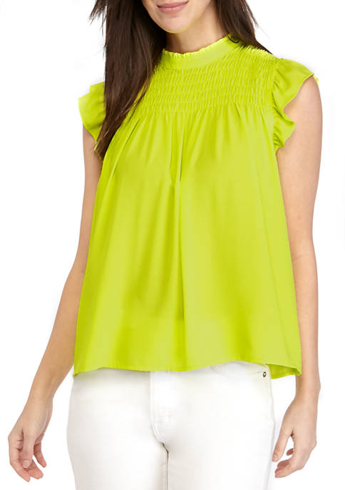 Womens Ruffle Sleeve Smocked Neon Blouse