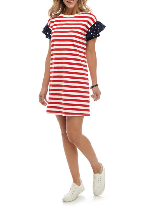 Crown & Ivy™ Womens Short Double Ruffle Sleeve