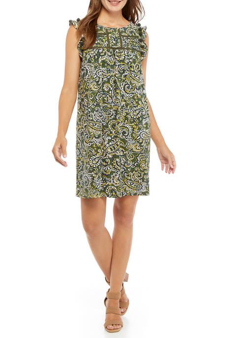 Crown & Ivy™ Womens Sleeveless Flutter Shoulder Printed
