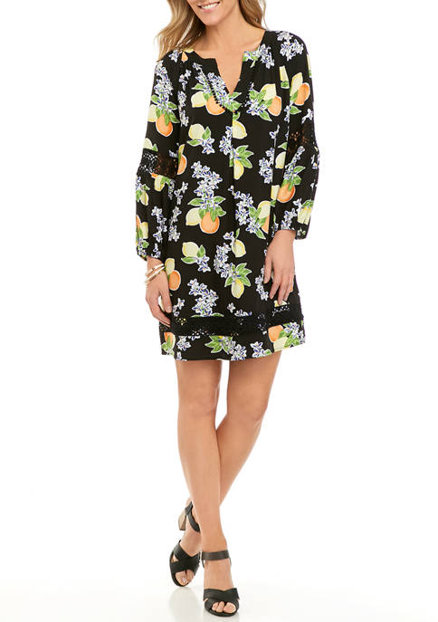 Crown & Ivy Women's Crochet Peasant Print Dress