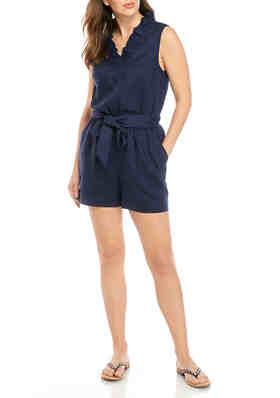 Tiana B Women/'s Sleeveless V-Neck Side Ruffle Scuba Crepe Jumpsuit