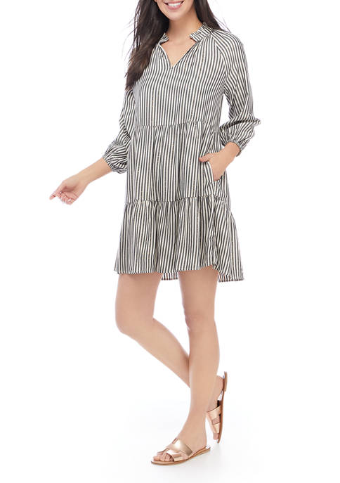 Crown & Ivy™ Womens Blouson Sleeve Striped Tiered