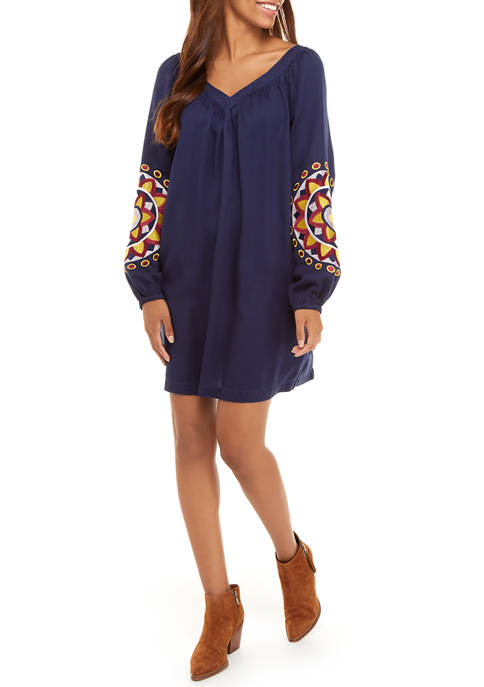Crown & Ivy™ Womens Blouson Sleeve Dress