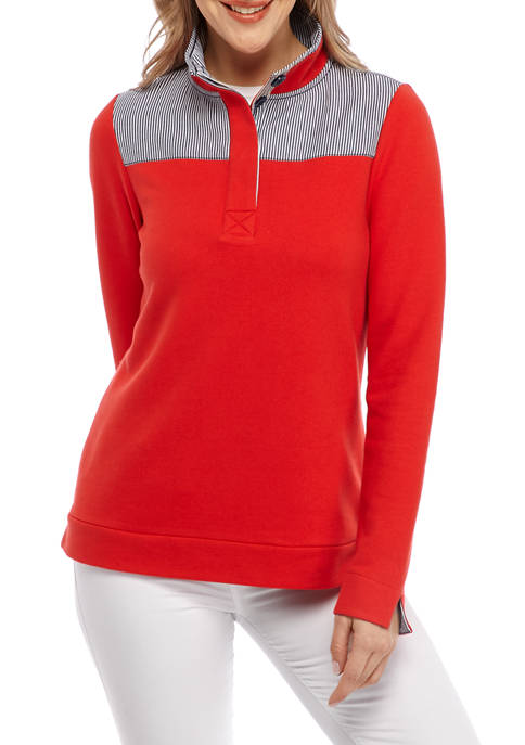 Crown & Ivy™ Womens Long Sleeve Button Sweatshirt